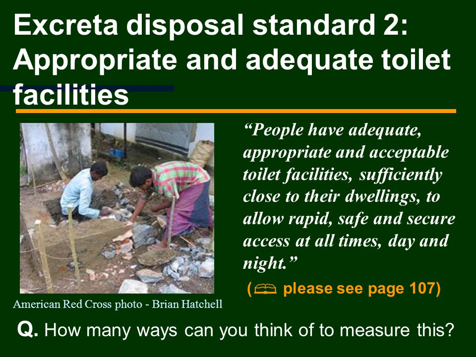 Excreta disposal standard 2: Appropriate and adequate toilet facilities