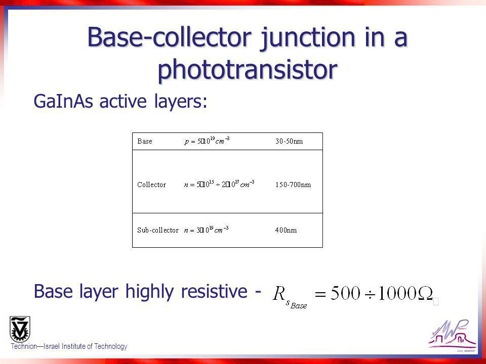 Base-collector junction in a phototransistor