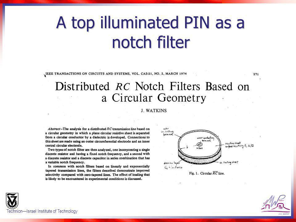 A top illuminated PIN as a notch filter