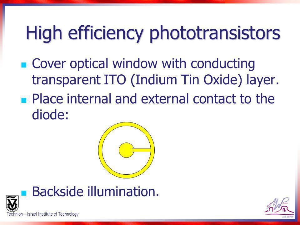 High efficiency phototransistors