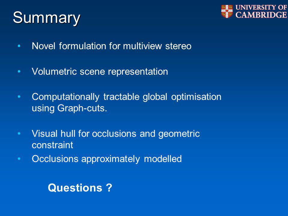 Summary Questions Novel formulation for multiview stereo