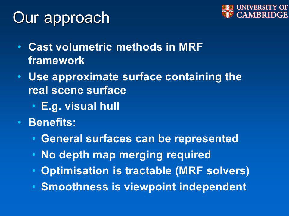 Our approach Cast volumetric methods in MRF framework