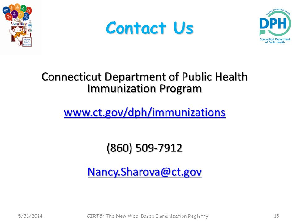 Contact Us Connecticut Department of Public Health