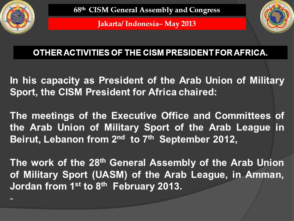 68th CISM General Assembly and Congress