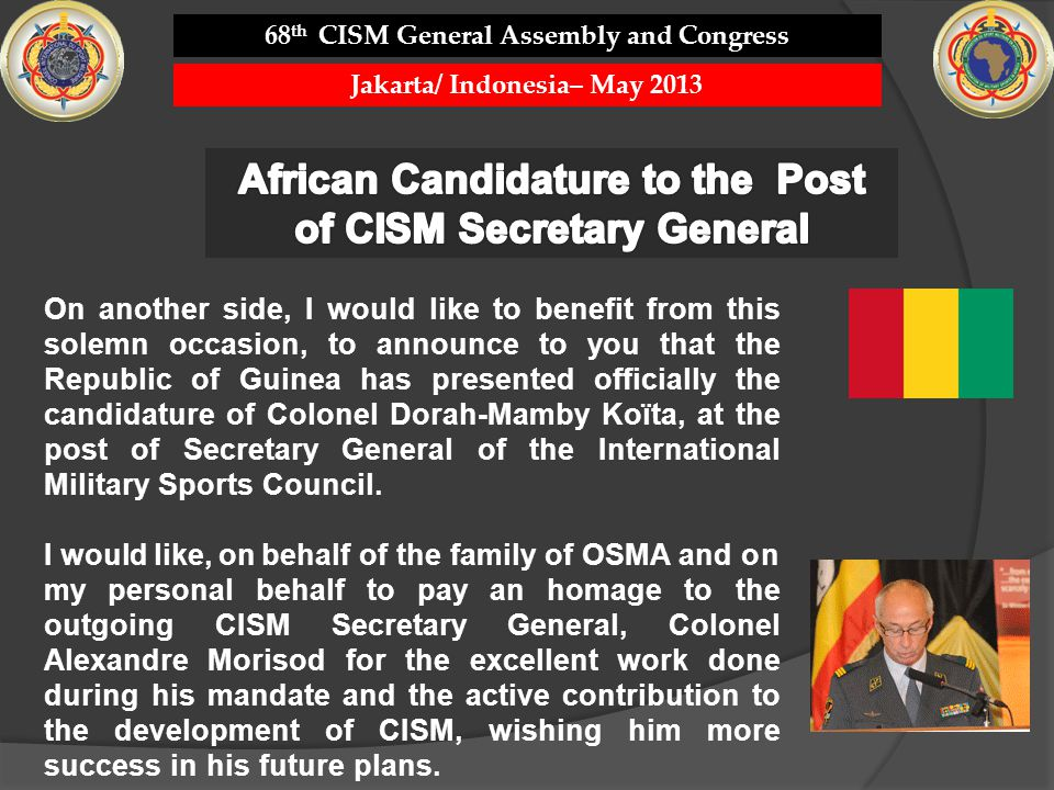 African Candidature to the Post of CISM Secretary General
