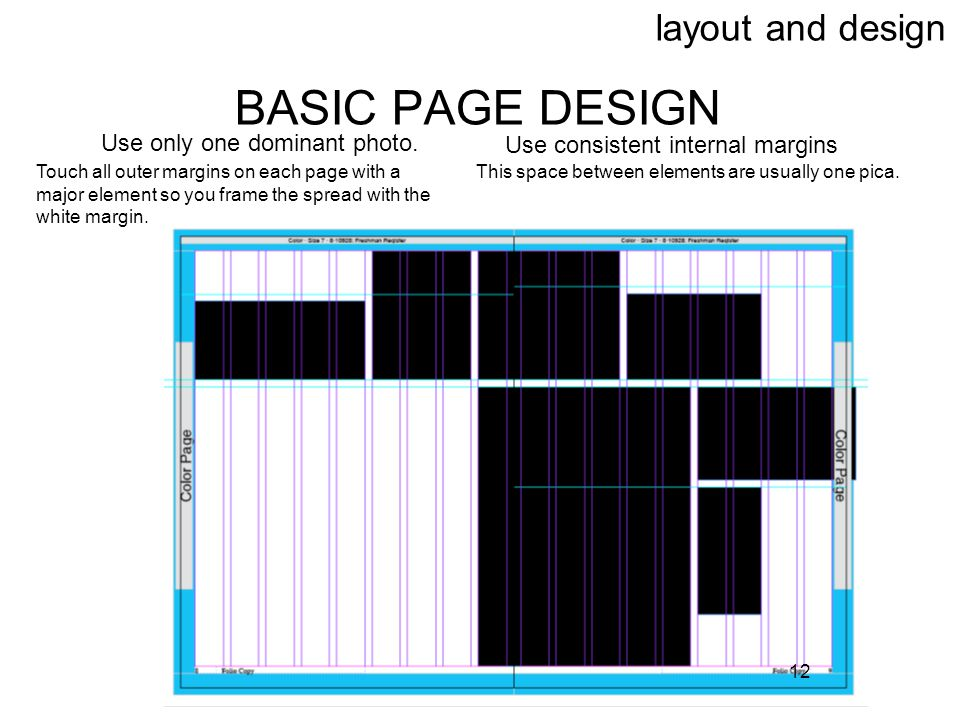 BASIC PAGE DESIGN layout and design Use only one dominant photo.