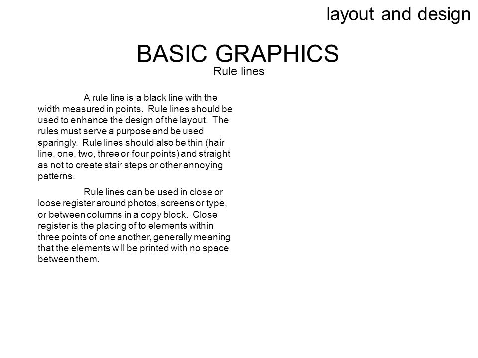 BASIC GRAPHICS layout and design Rule lines