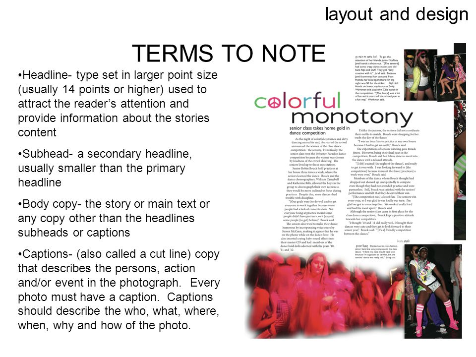 TERMS TO NOTE layout and design