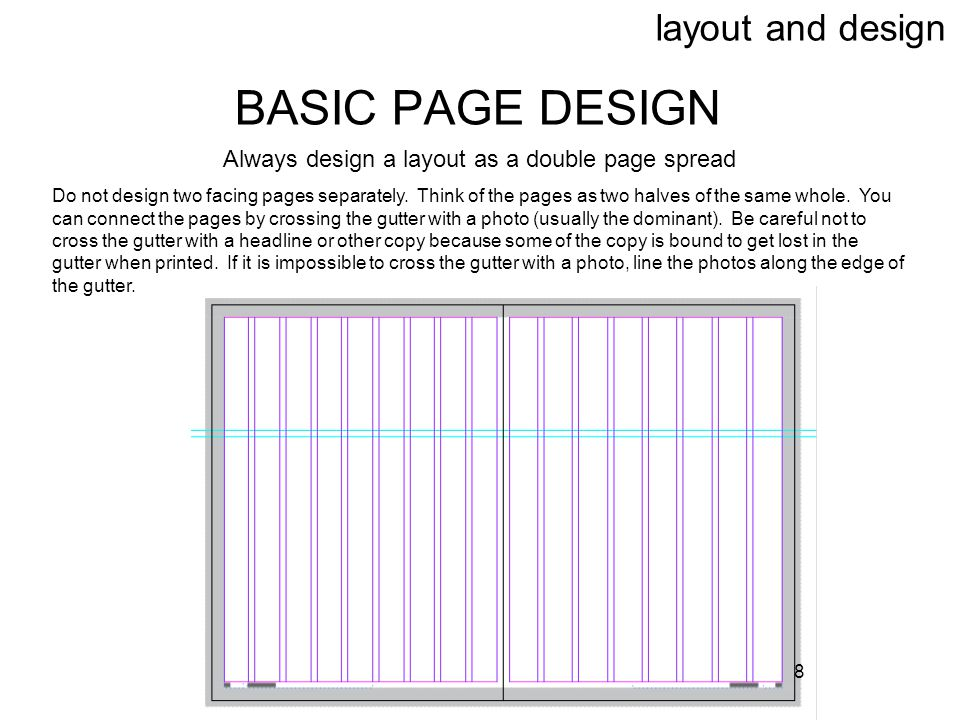 Always design a layout as a double page spread