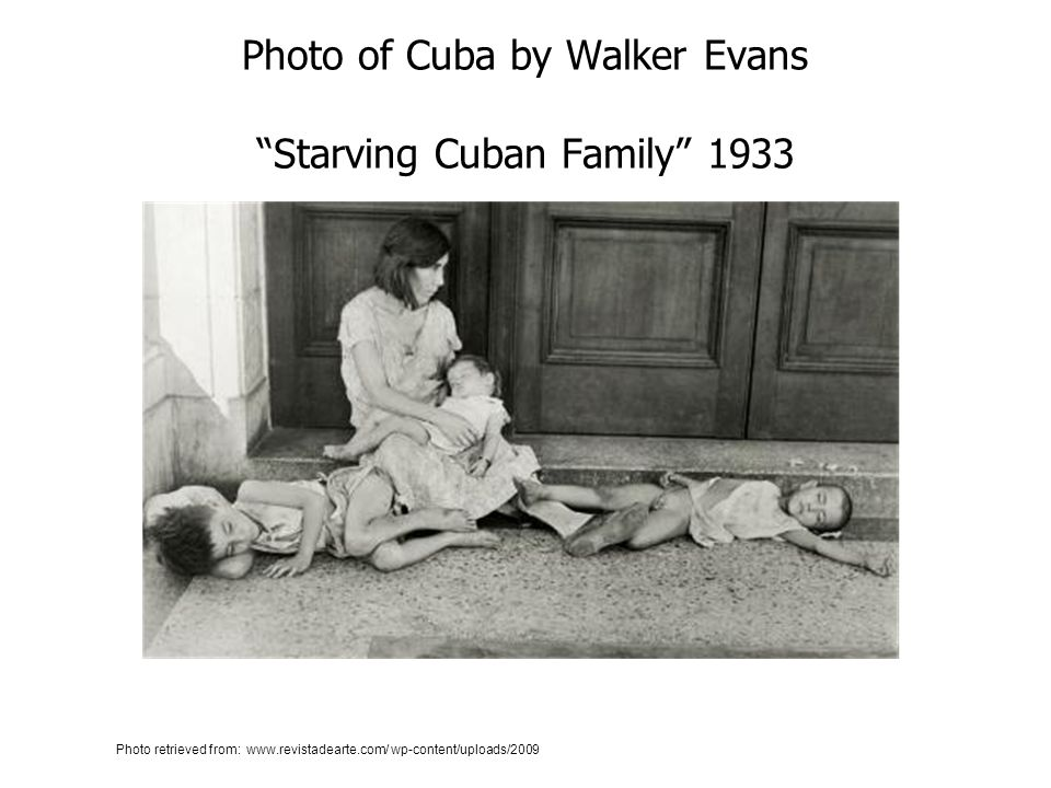Photo of Cuba by Walker Evans Starving Cuban Family 1933