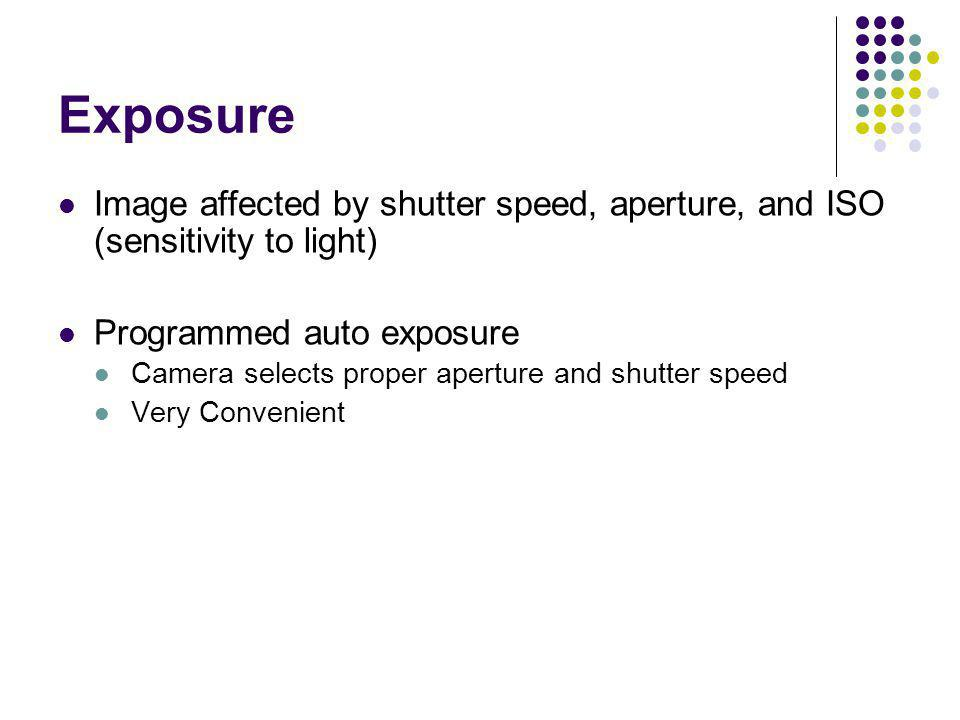 Exposure Image affected by shutter speed, aperture, and ISO (sensitivity to light) Programmed auto exposure.