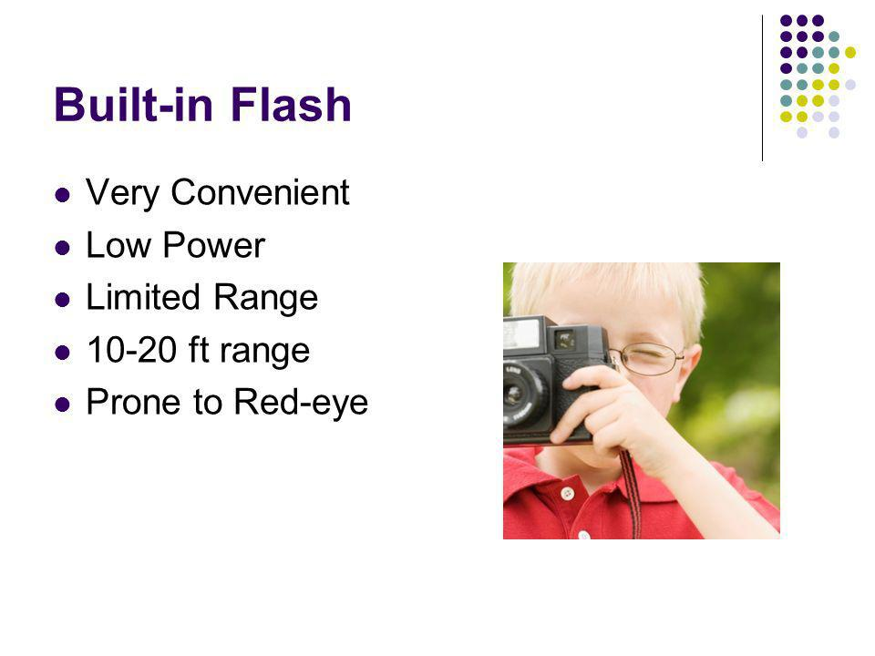 Built-in Flash Very Convenient Low Power Limited Range 10-20 ft range