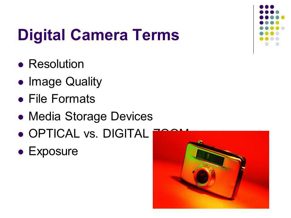 Digital Camera Terms Resolution Image Quality File Formats