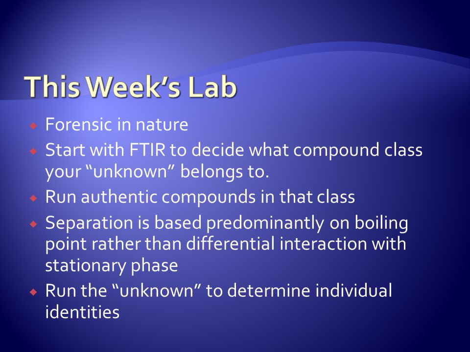 This Week's Lab Forensic in nature