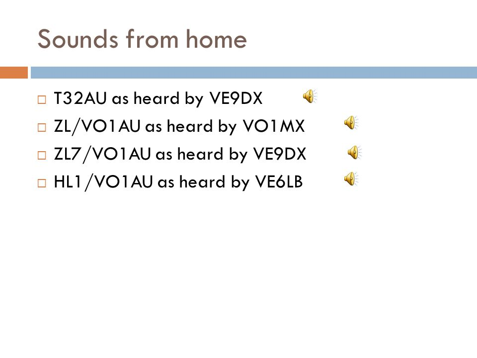 Sounds from home T32AU as heard by VE9DX ZL/VO1AU as heard by VO1MX