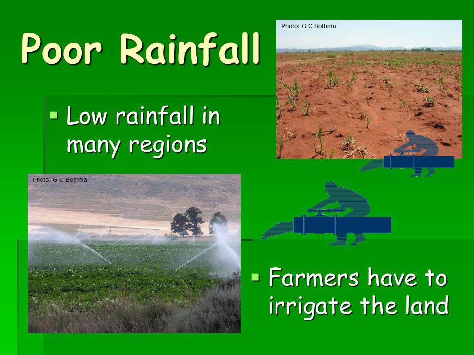 Poor Rainfall Low rainfall in many regions