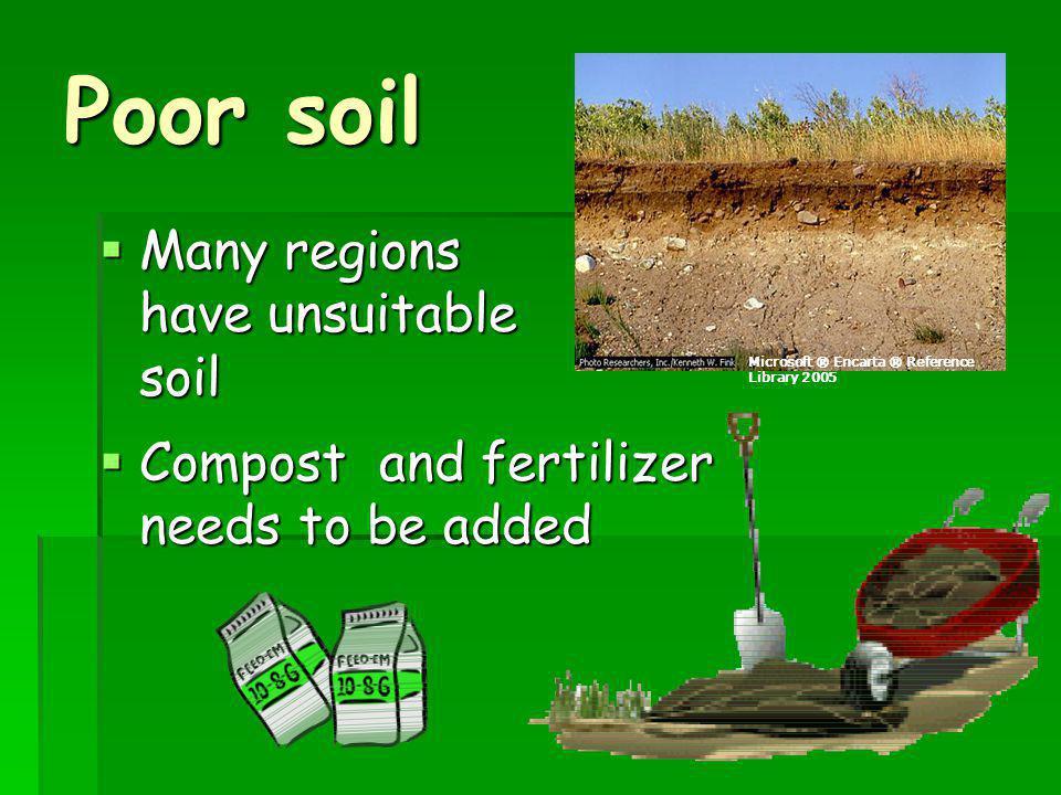 Poor soil Many regions have unsuitable soil