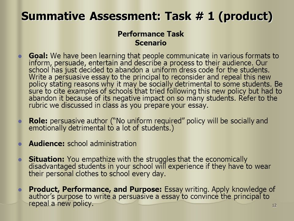 Summative Assessment: Task # 1 (product)