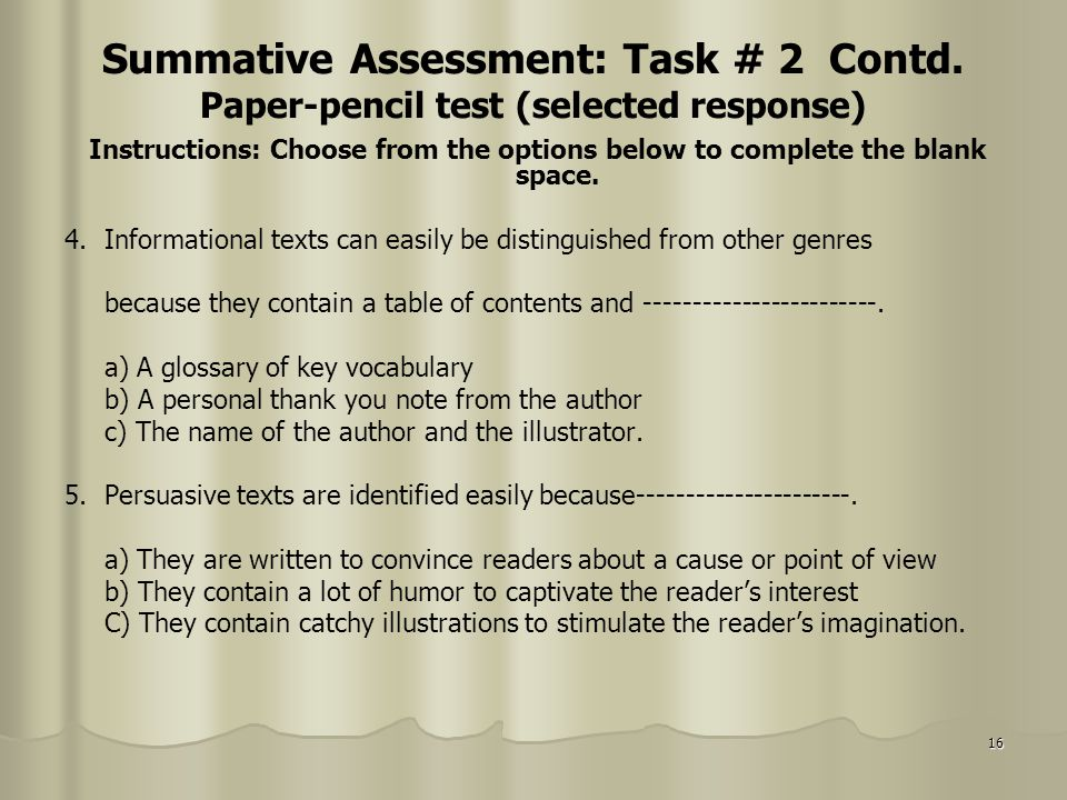 Summative Assessment: Task # 2 Contd