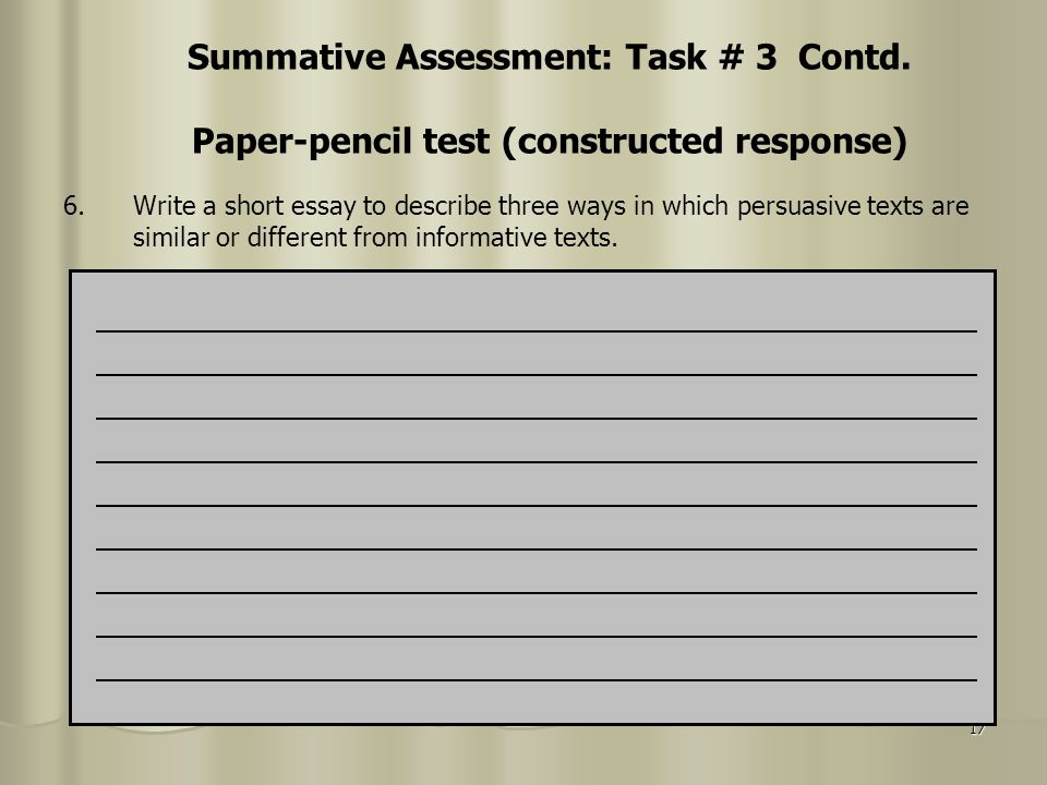Summative Assessment: Task # 3 Contd