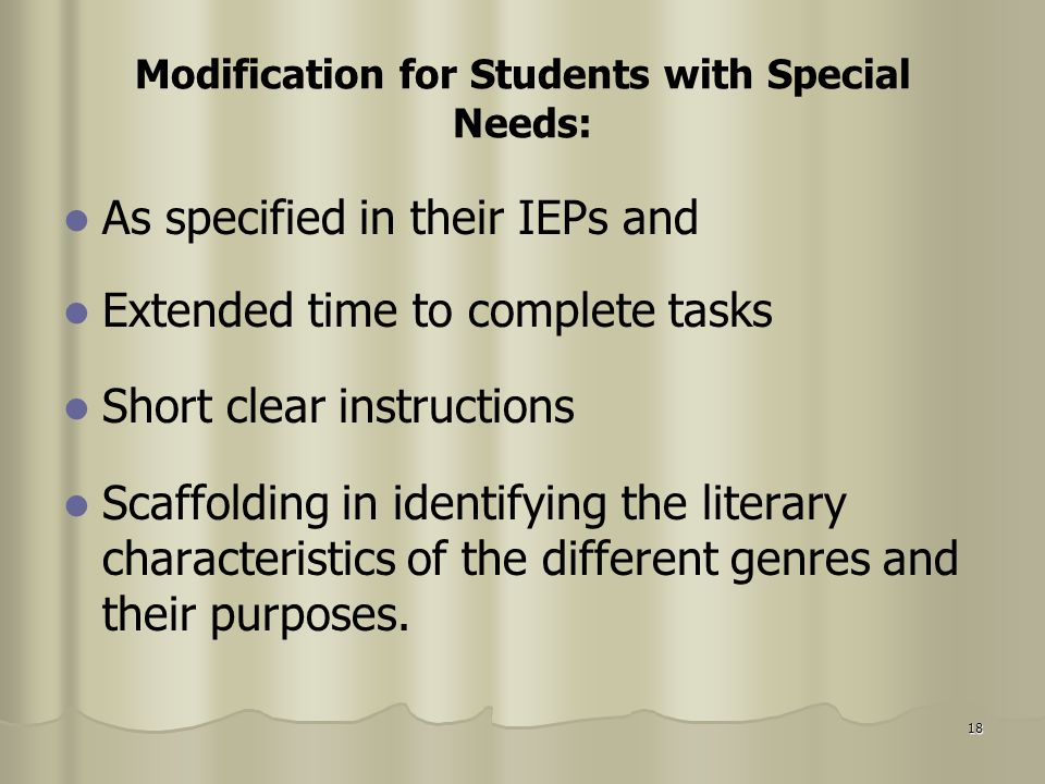 Modification for Students with Special Needs:
