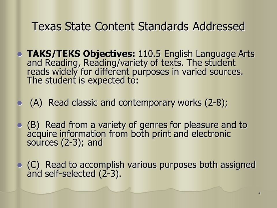 Texas State Content Standards Addressed