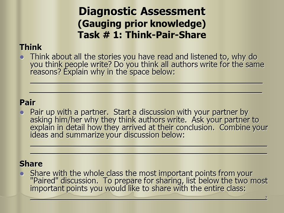 Diagnostic Assessment (Gauging prior knowledge) Task # 1: Think-Pair-Share