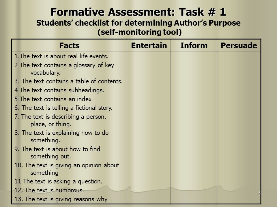 Formative Assessment: Task # 1 Students' checklist for determining Author's Purpose (self-monitoring tool)