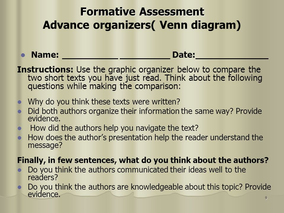 Formative Assessment Advance organizers( Venn diagram)