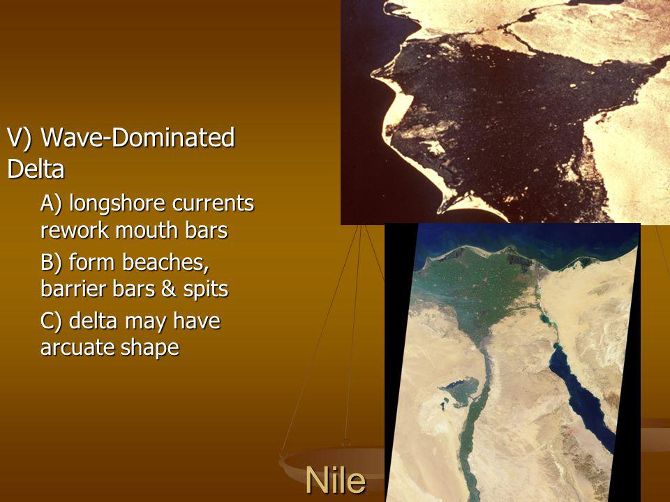 Nile V) Wave-Dominated Delta A) longshore currents rework mouth bars
