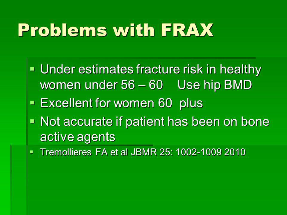 Problems with FRAX Under estimates fracture risk in healthy women under 56 – 60 Use hip BMD. Excellent for women 60 plus.