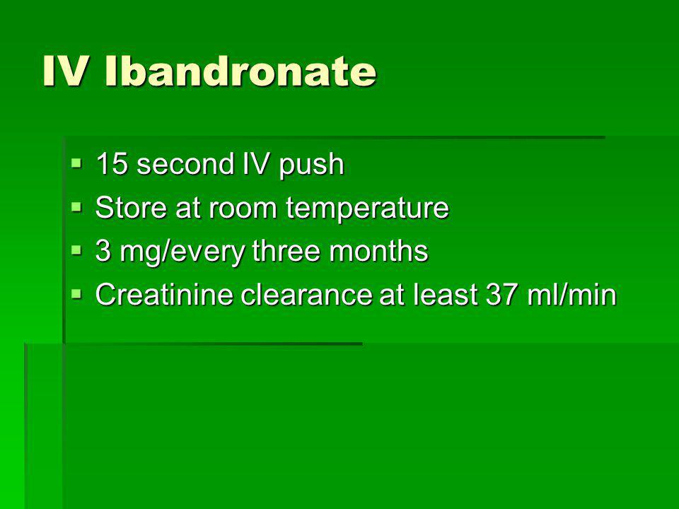 IV Ibandronate 15 second IV push Store at room temperature