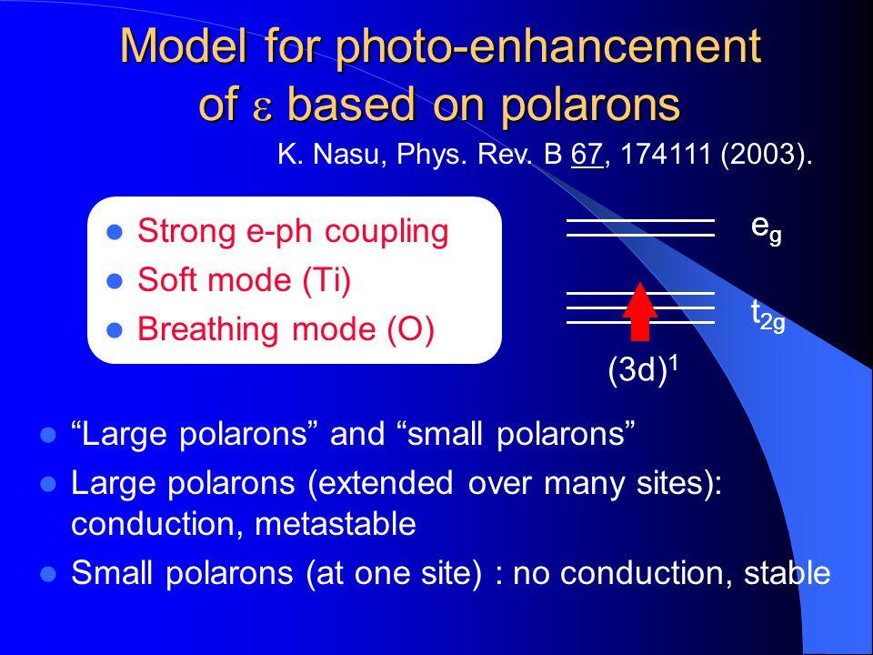 Model for photo-enhancement of e based on polarons