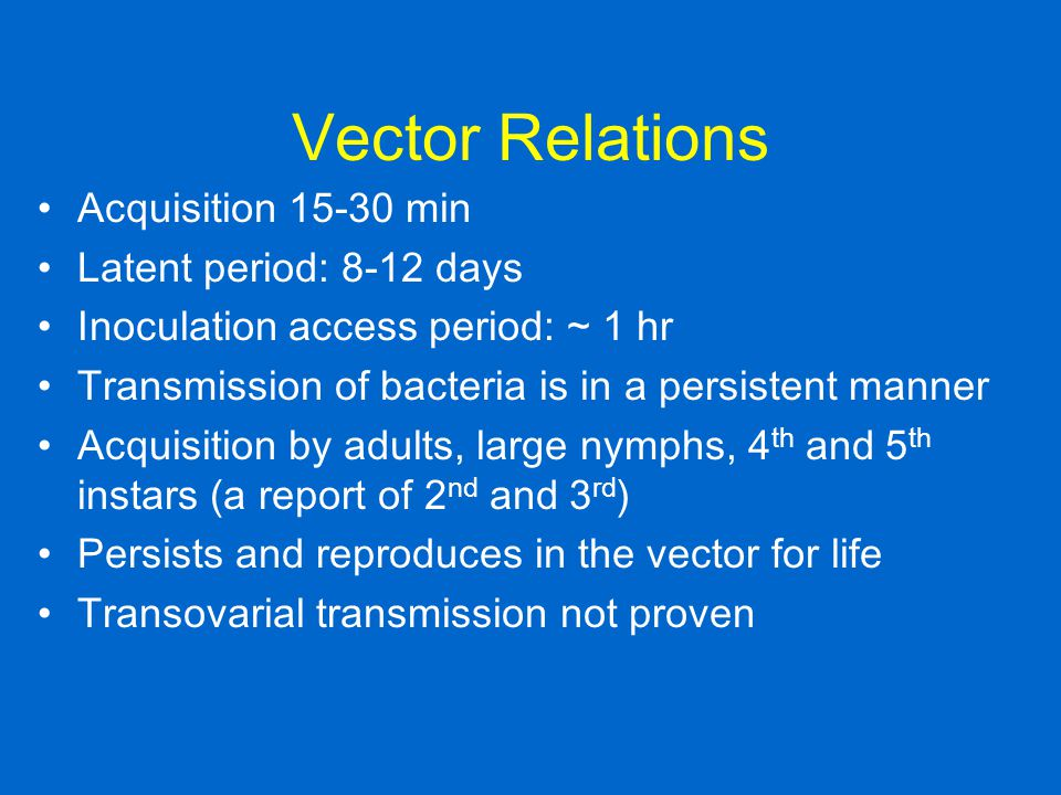 Vector Relations Acquisition 15-30 min Latent period: 8-12 days
