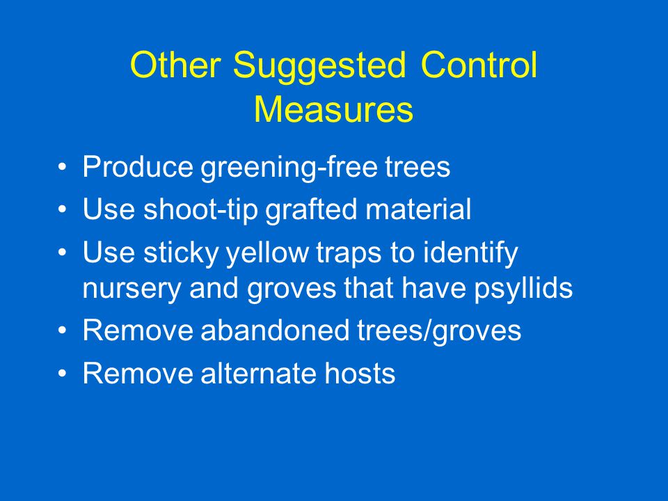 Other Suggested Control Measures
