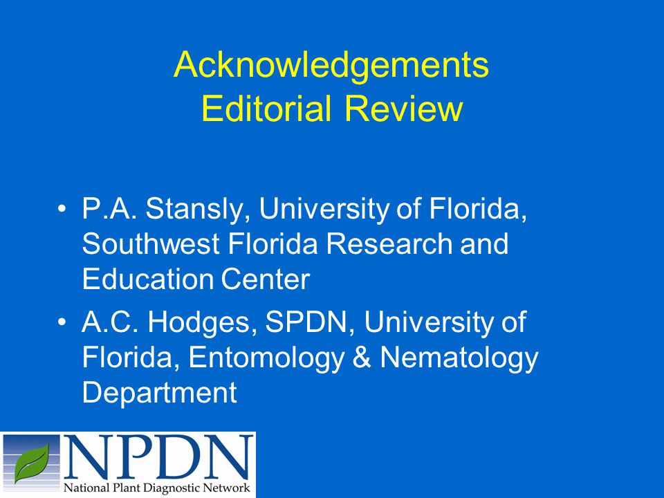 Acknowledgements Editorial Review