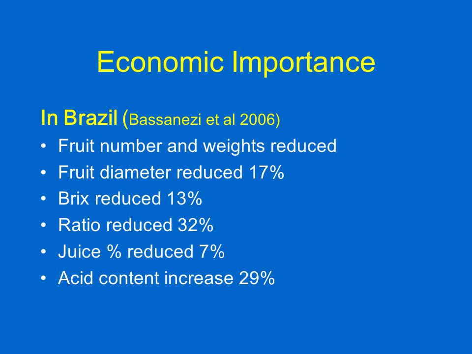 Economic Importance In Brazil (Bassanezi et al 2006)