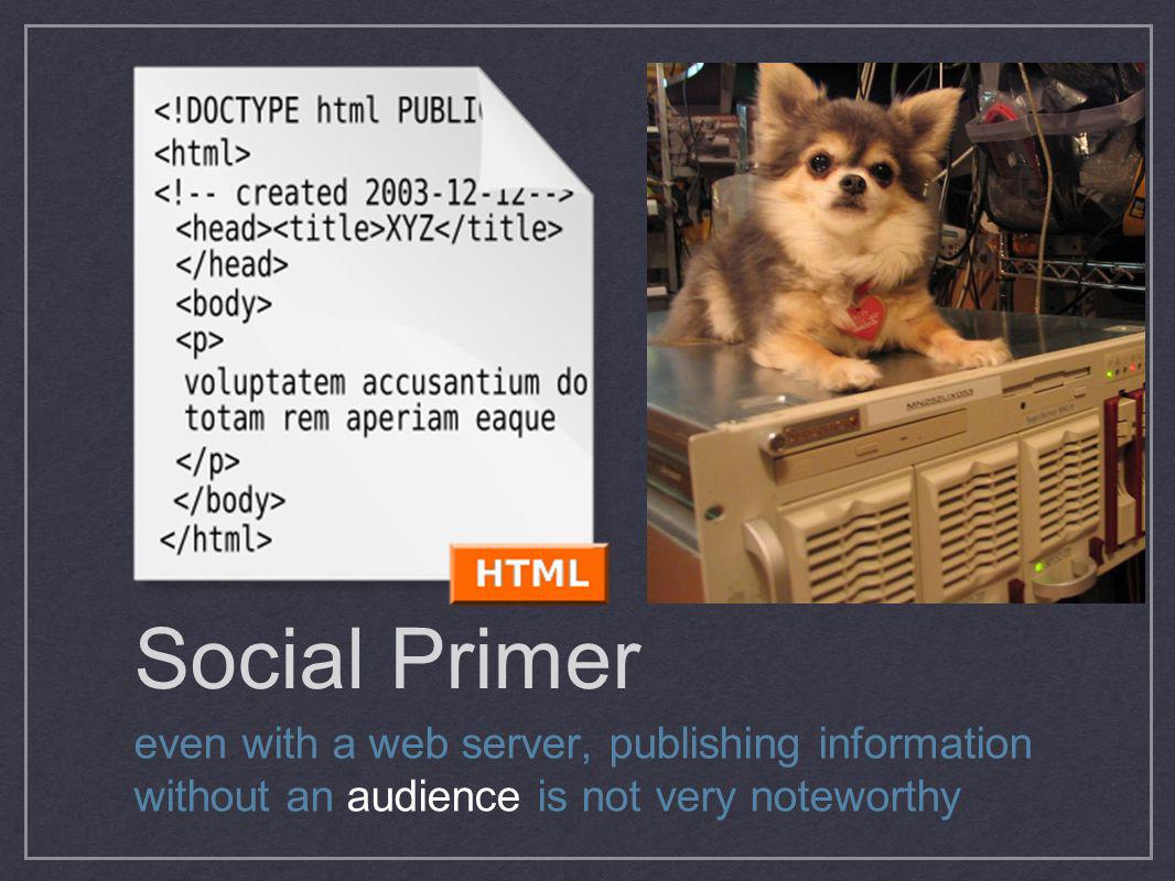 Social Primer even with a web server, publishing information without an audience is not very noteworthy.