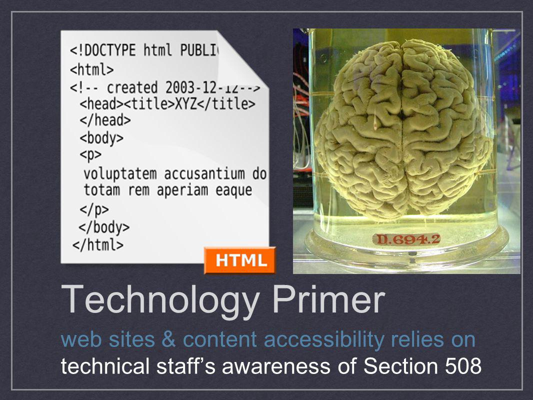 Technology Primer web sites & content accessibility relies on technical staff's awareness of Section 508.