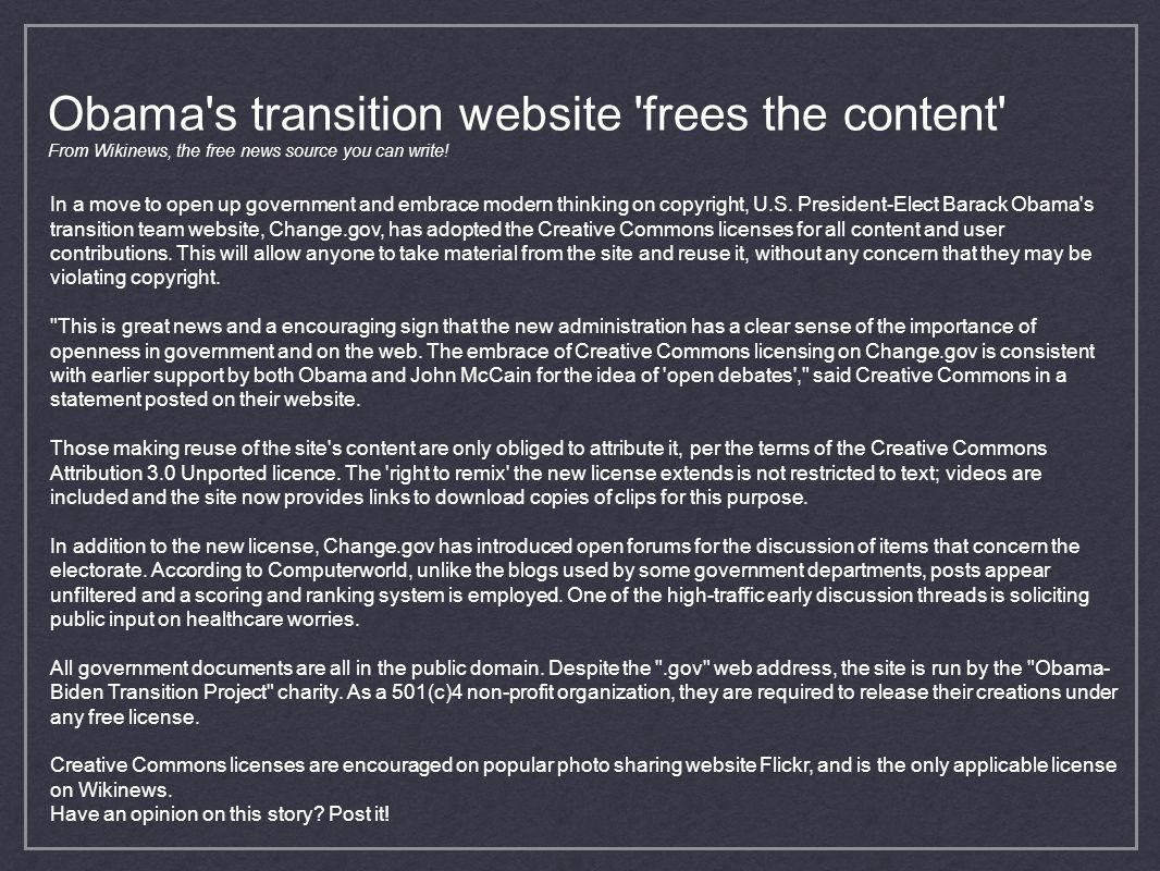 Obama s transition website frees the content