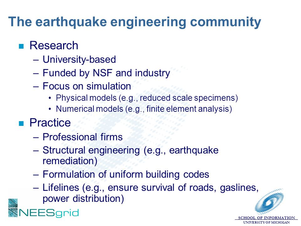 The earthquake engineering community