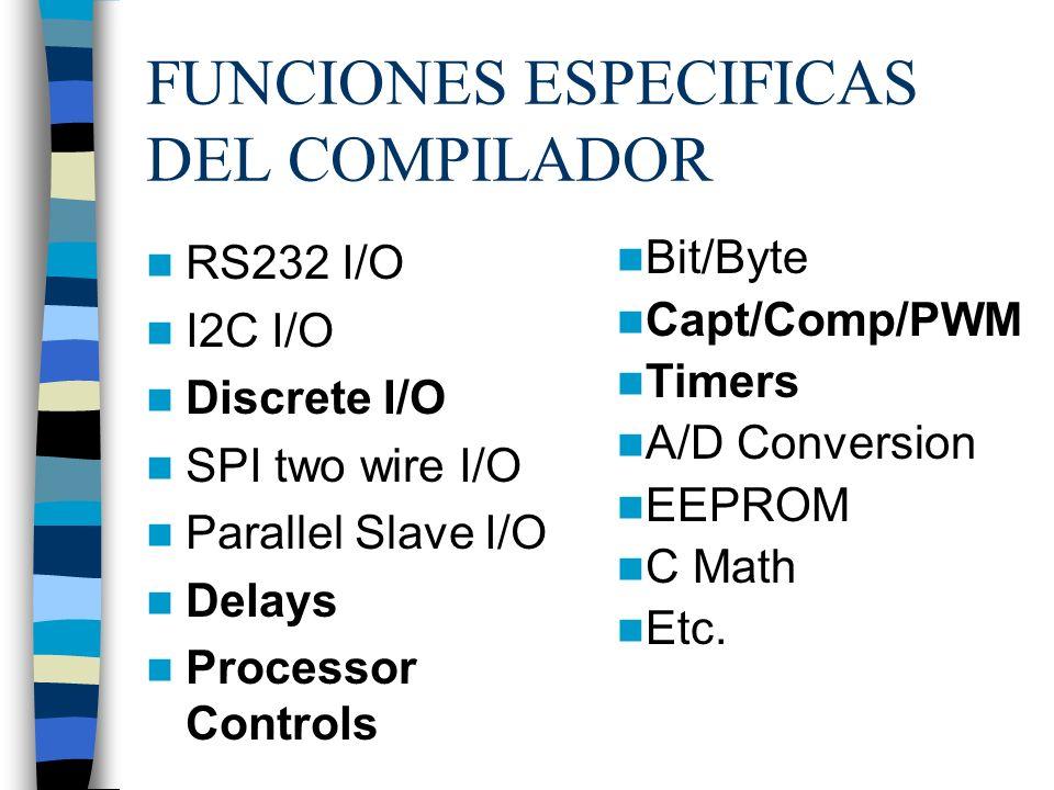 FUNCIONES ESPECIFICAS DEL COMPILADOR