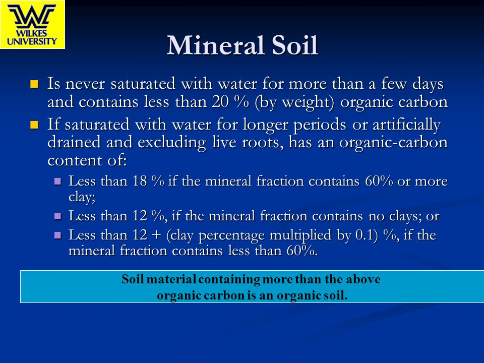 Mineral Soil Is never saturated with water for more than a few days and contains less than 20 % (by weight) organic carbon.