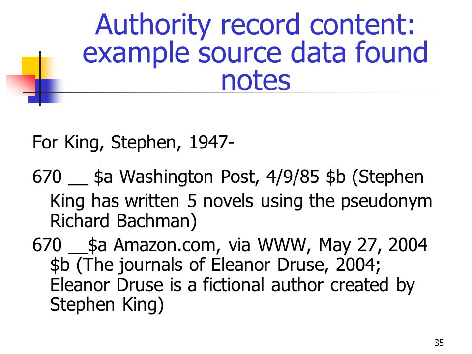 Authority record content: example source data found notes
