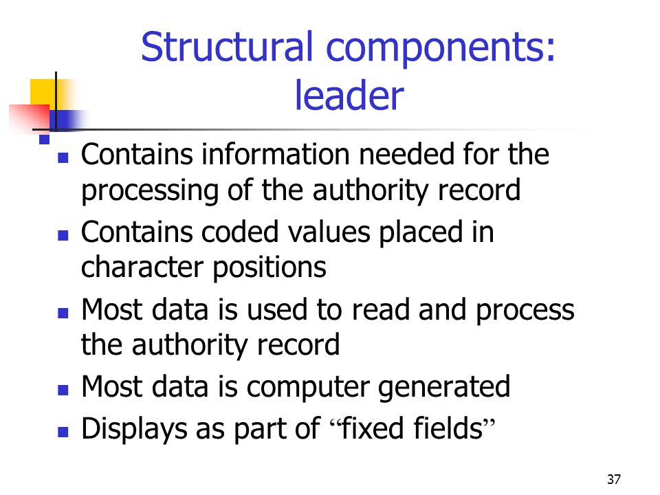 Structural components: leader