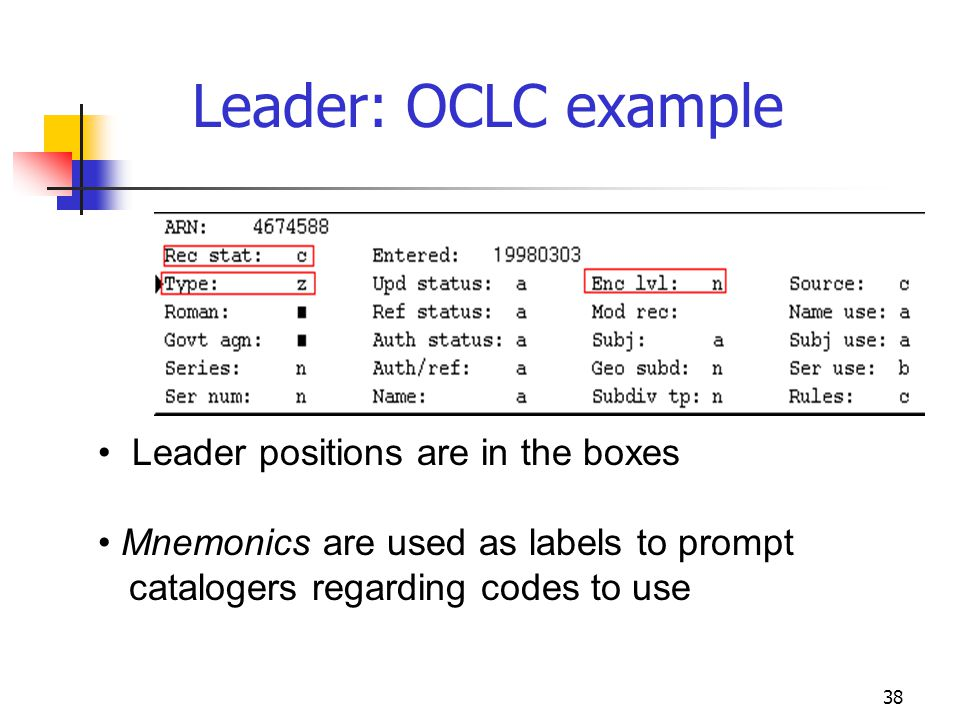 Leader: OCLC example Leader positions are in the boxes