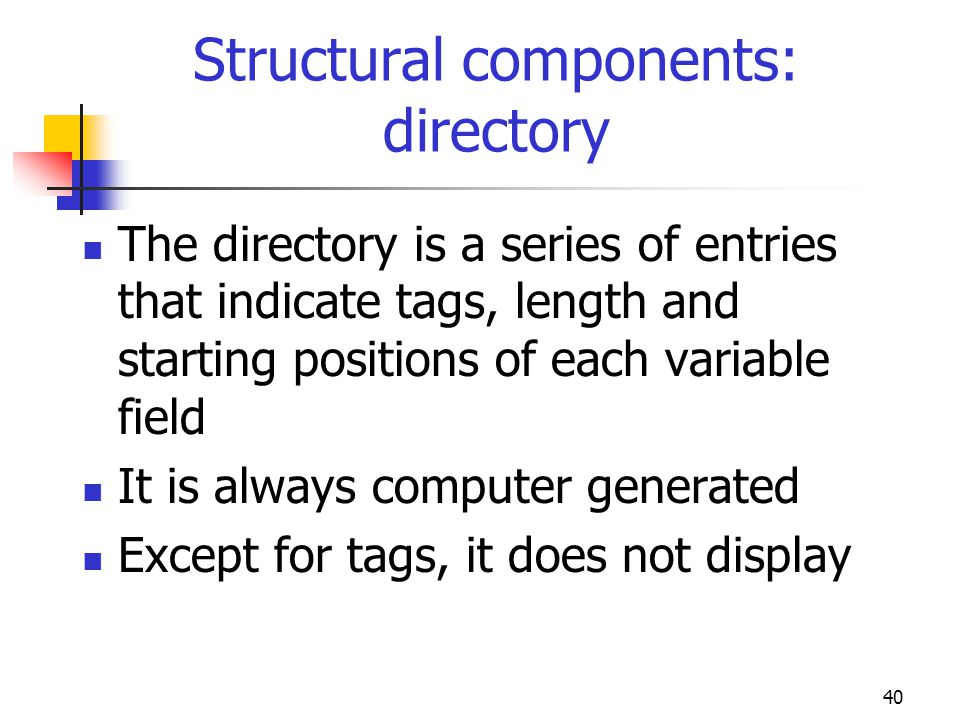 Structural components: directory