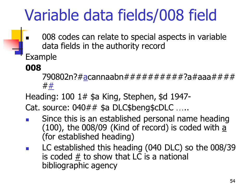 Variable data fields/008 field