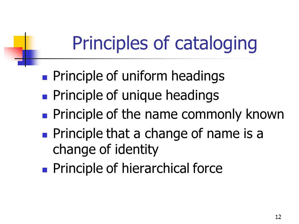 Principles of cataloging