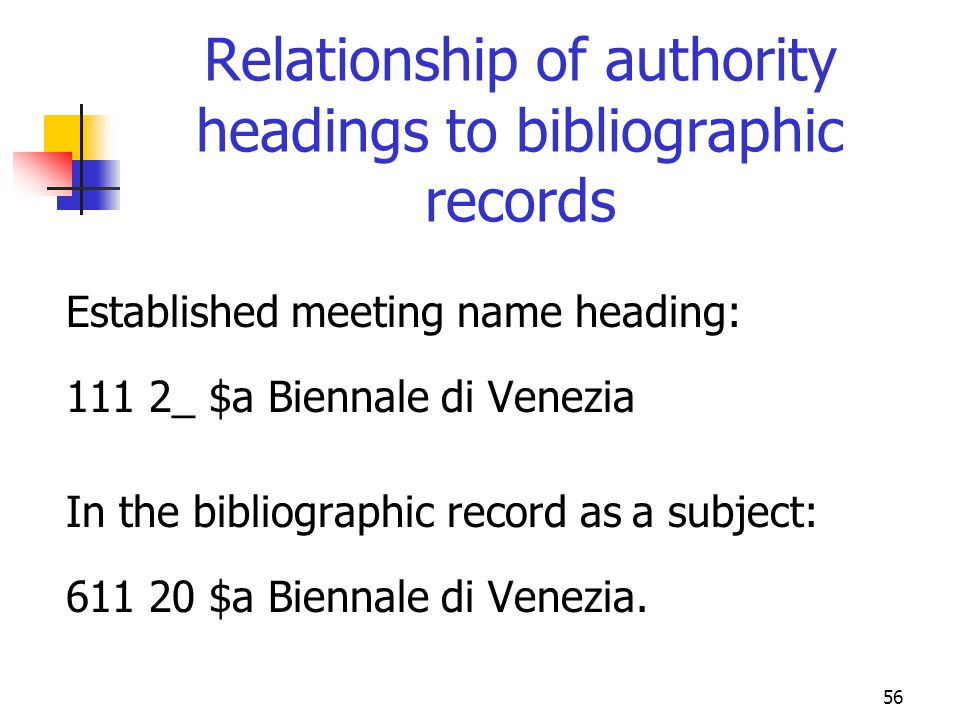Relationship of authority headings to bibliographic records